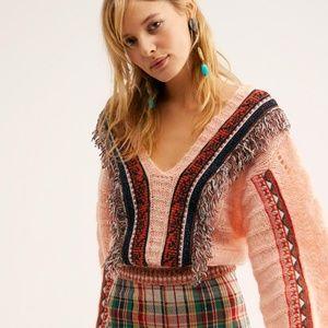 NEW Free People Passionfruit v-neck fringe sweater